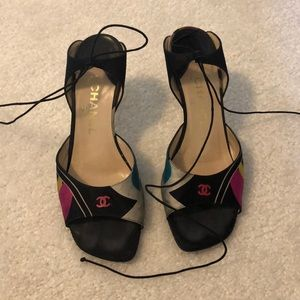 Chanel size 9.5 lace up tie up 3 inch sandals
